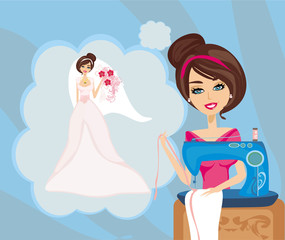 girl with sewing machine, dreams of a beautiful wedding dress
