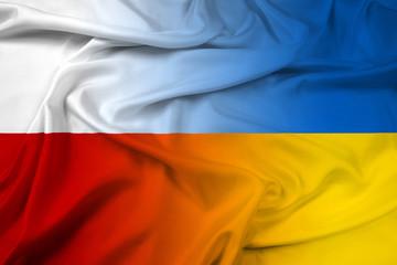Waving Poland and Ukraine Flag