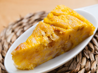 Portion of Spanish omelette
