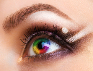 Close up Colourful human eye with makeup