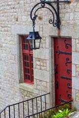 Lantern above door and the window