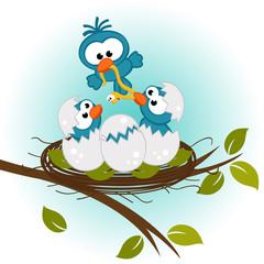 bird feeding babies in nest - vector illustration