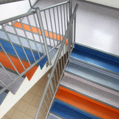 Colorful school staircase