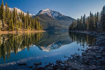 Morning reflection at Maligne lake in Jasper National Park, Alberta, Canada