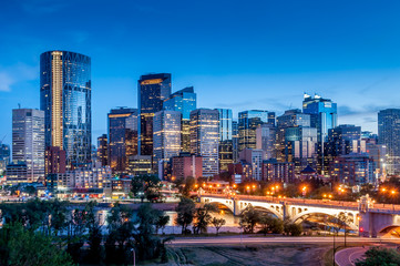 Poster de jardin Canada Calgary skyline at night