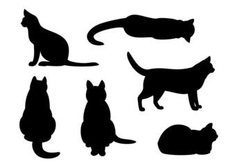 猫のシルエット、セット
