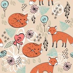 children hand drawn seamless pattern with foxes.