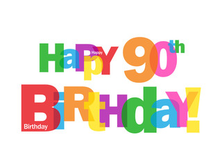 """""""HAPPY 90TH BIRTHDAY"""" CARD (ninety party celebration congrats)"""