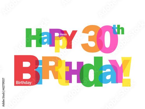 HAPPY 30TH BIRTHDAY CARD Thirty Party Celebration Congrats