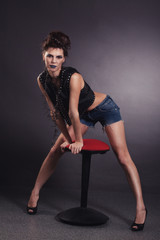 creative sexy girl black vest standing