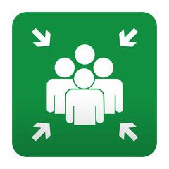 Etiqueta tipo app verde simbolo punto de encuentro