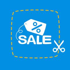 bright scissors cut sticker with a sale