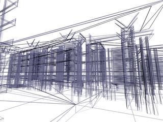 Architectural 3D construction. Concept - modern architecture.