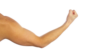 Man's muscular arm on white background Wall mural