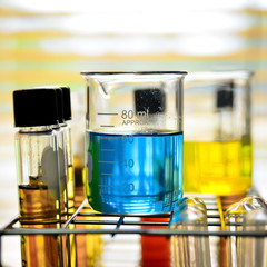 Laboratory glassware with chemical liquid