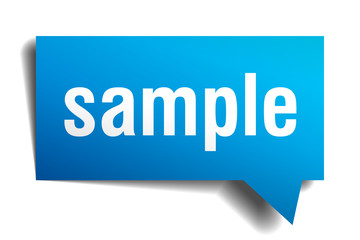 Sample blue 3d realistic paper speech bubble isolated on white