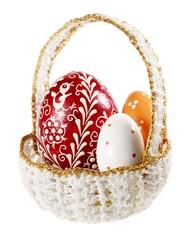 easter eggs in crochet basket