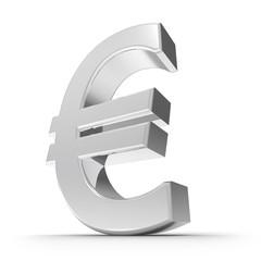 Silbernes Euro Symbol mit weißem Hintergrund