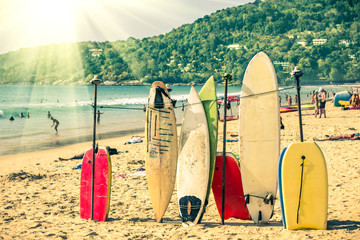 Wall Mural - Surfboards at the beach - Nostalgic retro version