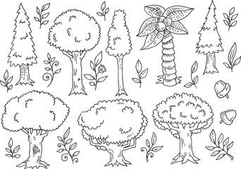 Tree Forest Doodles Vector Illustration Art Set