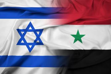 Waving Israel and Syria Flag