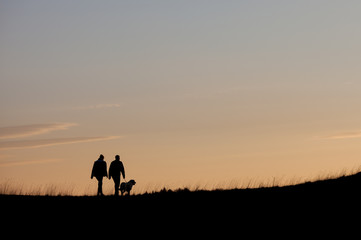 silhouette with couple walking with dog in sunset sky