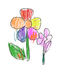 children drawing flower