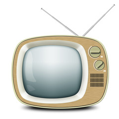 Retro TV with an antenna, wooden Cabinet, vintage