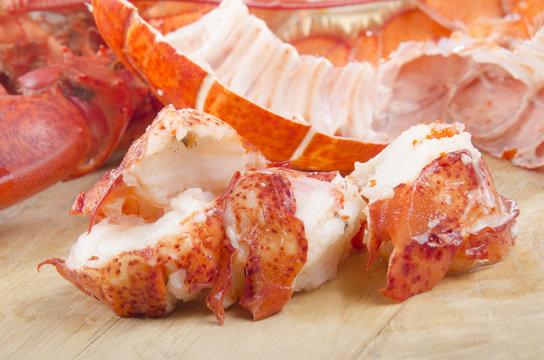 lobster meat on wooden board