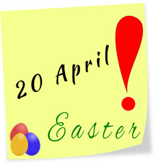 Stick note as reminder with date of Easter