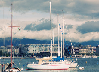 Yachts on the lake Lehman, Geneva