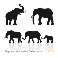 Set of silhouette elephants in different poses