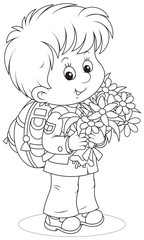 First grader with a schoolbag and flowers