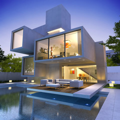 Contemporary house with pool bunker