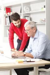 Business team in small architect studio