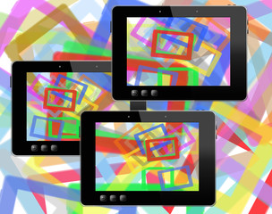 black tablets with motley abstract colorful pictures
