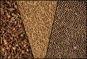 Spices, collage. Close-up. Background.