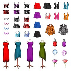 women clothes fashion cliparts isolated on white background