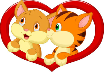 Cat cartoon in love