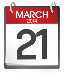 Calendar of 21st of March 2014 Vector