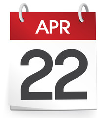 Calendar of 22nd of April Vector