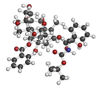 Docetaxel cancer chemotherapy drug molecule. Taxane class drug.