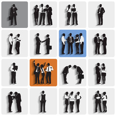 Silhouettes of Business People Group Vector