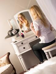 Beautiful Blonde Woman Brushing Hair Bedroom Vanity Beauty