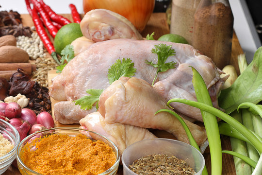 chicken raw and spices