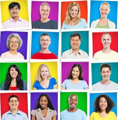 Portraits of Colorful Multi-Ethnic People Smiling