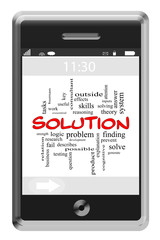 Solution Word Cloud Concept on Touchscreen Phone