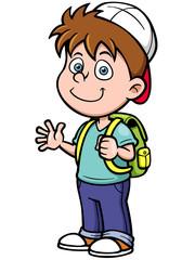 Vector illustration of boy go to school