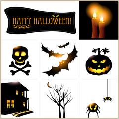 Halloween vector icons set. Vector art.