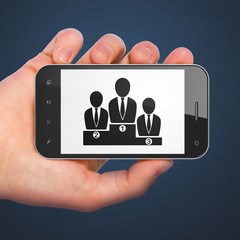 Advertising concept: Business Team on smartphone